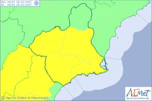 Aviso amarillo por riesgo de nieve emitido por AEMET